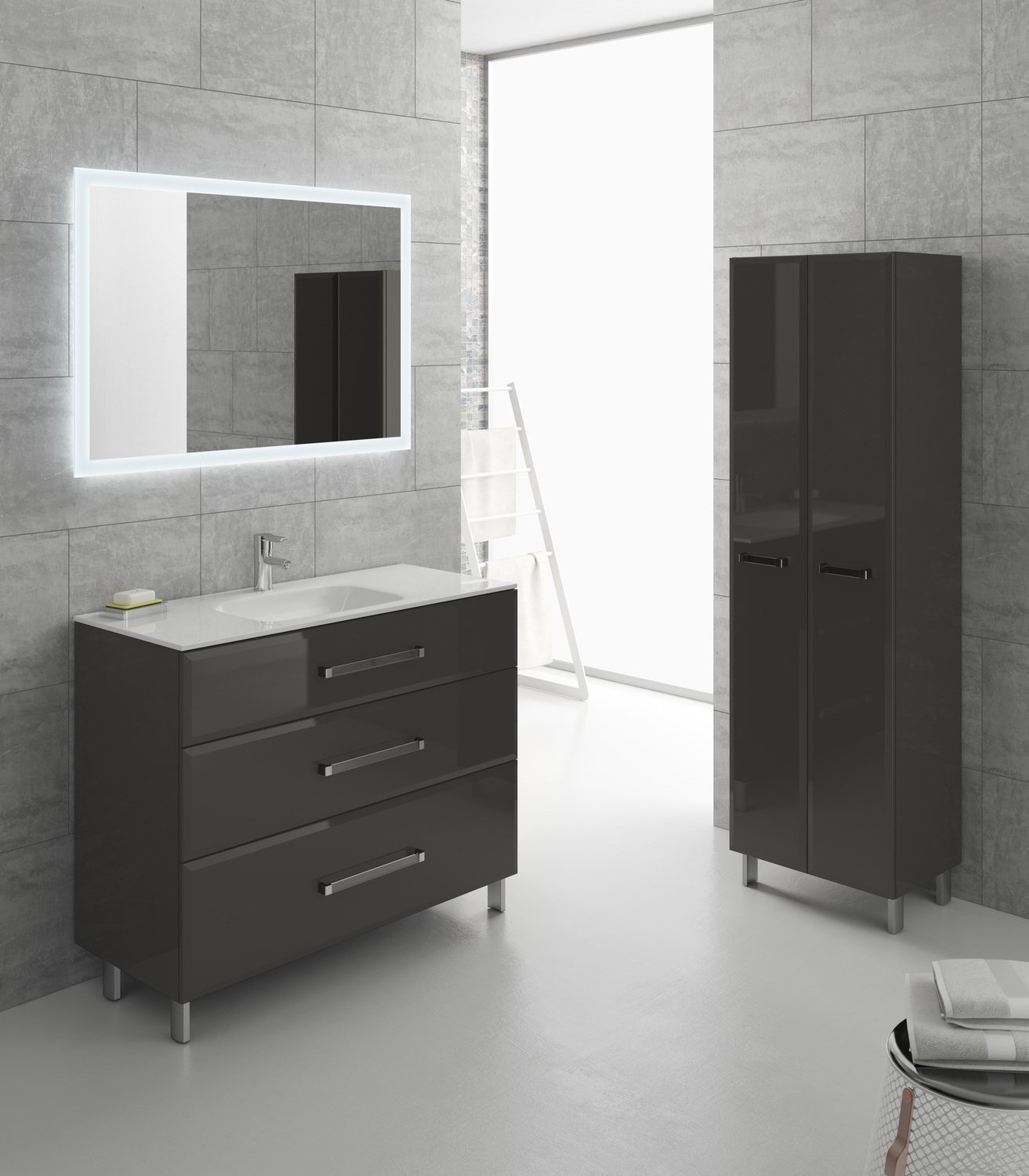 ensemble de meubles de salle de bains gris fonc leroy merlin. Black Bedroom Furniture Sets. Home Design Ideas