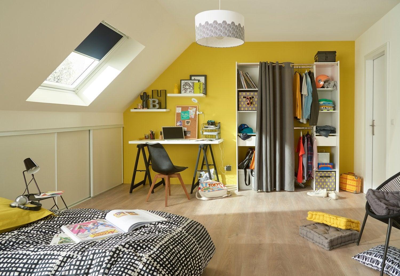 Chambre Adolescent Combles / Grenier Dressing Blanc / Beige / Naturel Jaune  / Orange