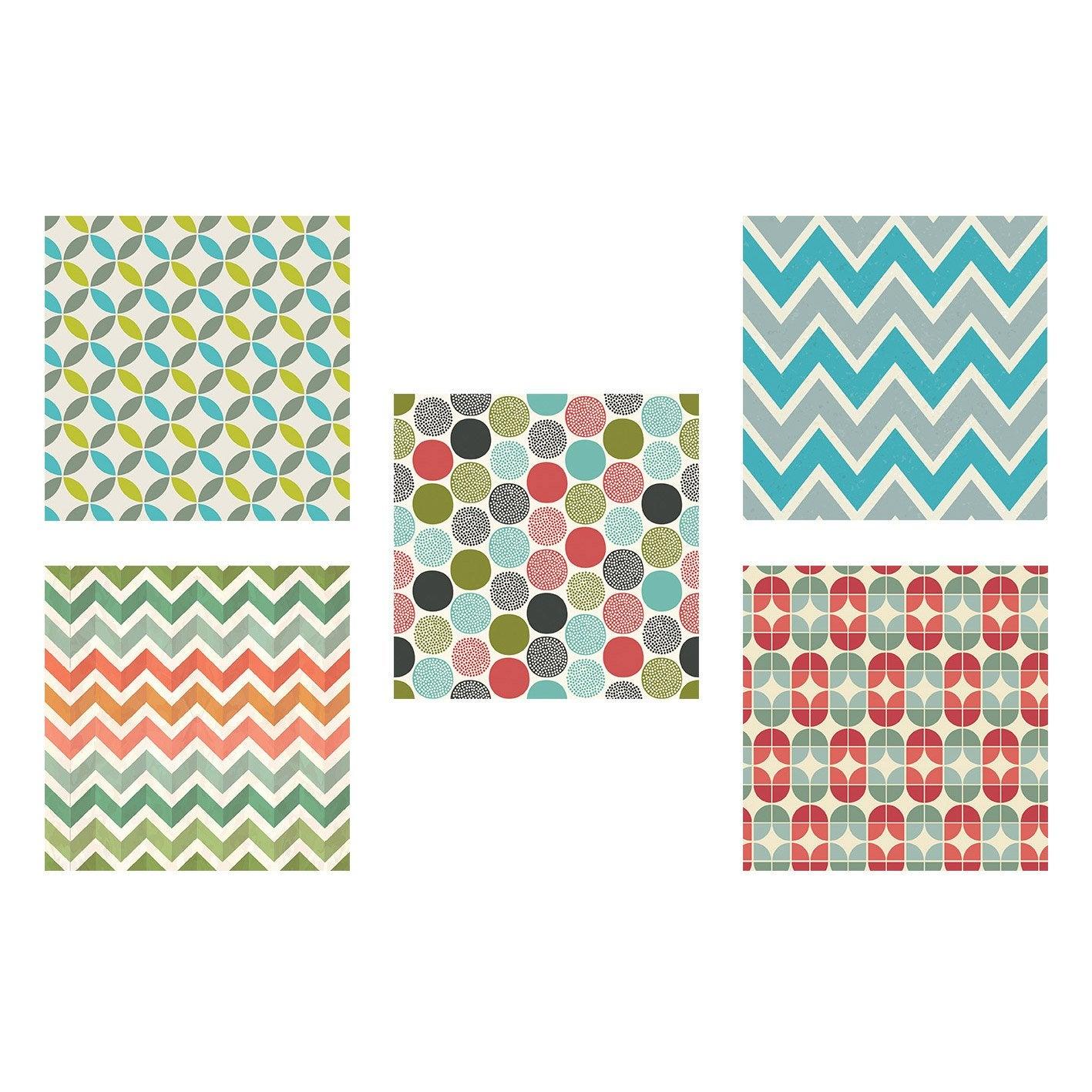 Set de 4 images Motifs géométriques l.30 x H.30 cm