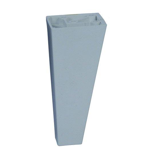Pied de meuble conique fixe plastique blanc 10 cm leroy for Pied plastique meuble