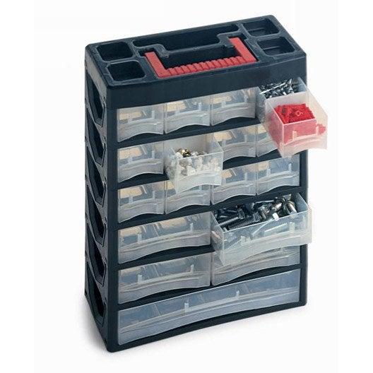 casier vis en plastique 17 tiroirs haut 38 5 x larg 31 5 x prof 14 cm leroy merlin. Black Bedroom Furniture Sets. Home Design Ideas