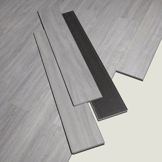 Lame pvc clipsable gris effet bois camden artens leroy for Pose lame pvc clipsable sur carrelage