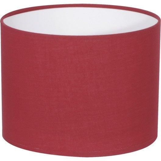 Abat jour tube 40 cm coton rouge rouge n 5 inspire - Abat jour suspension leroy merlin ...