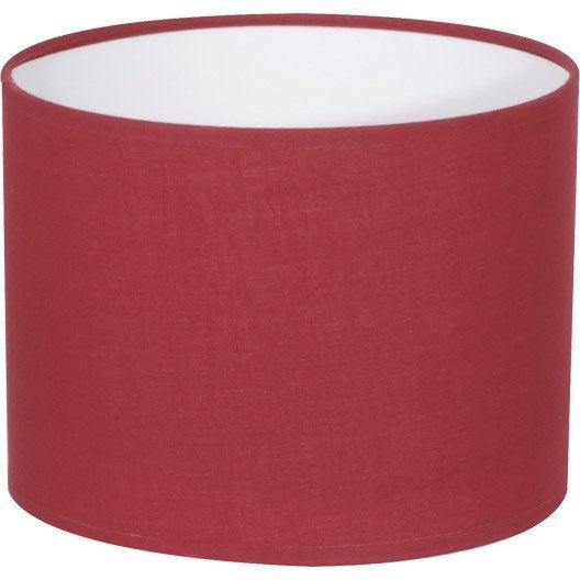 Abat jour tube 20 cm coton cerise inspire leroy merlin - Abat jour suspension leroy merlin ...