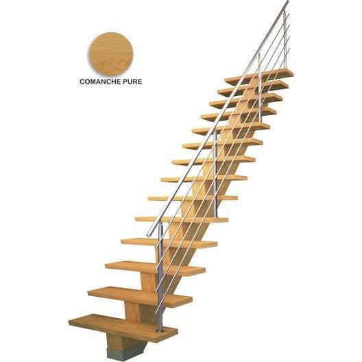 Escalier droit kalea structure m dium mdf marche m dium mdf leroy merlin - Dimension marche escalier ...