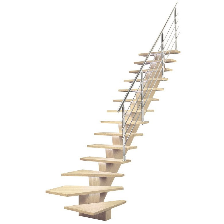 Escalier 1 4 Tournant Bas Gauche Acier Kalea 14 Marches Chêne Blanchi L 85 Cm