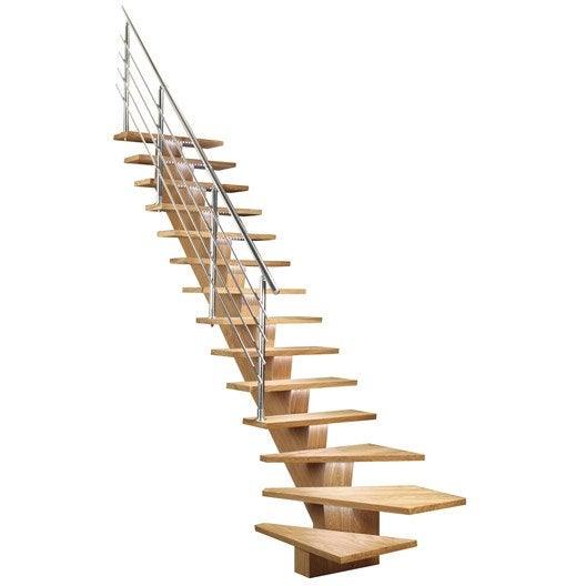 escalier quart tournant bas marches structure mdf m dium ch ne gris leroy merlin. Black Bedroom Furniture Sets. Home Design Ideas