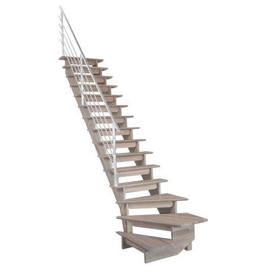 Escalier quart tournant bas gauche auvergne structure bois for Escalier interieur leroy merlin