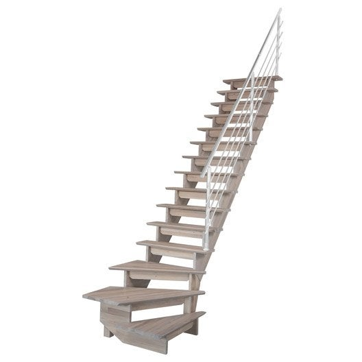 Escalier auvergne structure bois marche bois leroy merlin for Escalier a pas decales leroy merlin