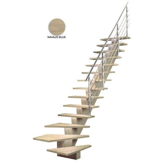 escalier quart tournant bas gauche kalea m dium mdf leroy merlin. Black Bedroom Furniture Sets. Home Design Ideas