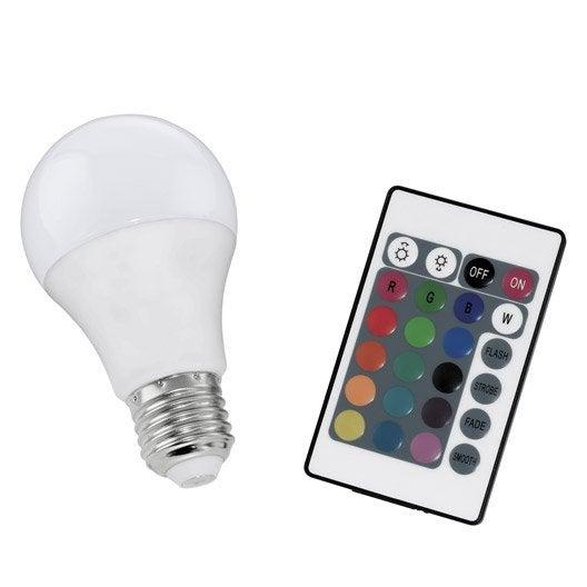 ampoule led changement de couleurs t l commande 7w 470lm quiv 40w e27 leroy merlin. Black Bedroom Furniture Sets. Home Design Ideas