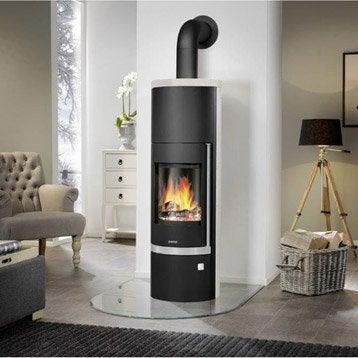 Poêle à bois JUSTUS Faro + acier noir dessus et cotés pierre blanche, 7 kW