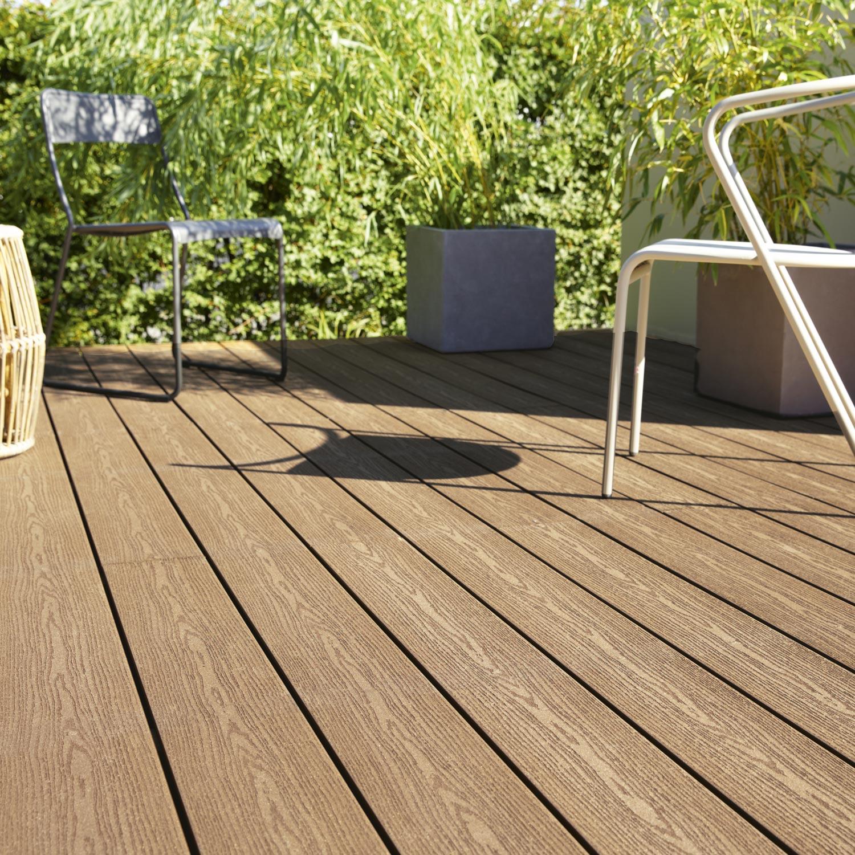 Comment Faire Une Terrasse En Resine planche composite résine et bois terrasse premium, brun, l.240 x l.15 cm x  ep.21