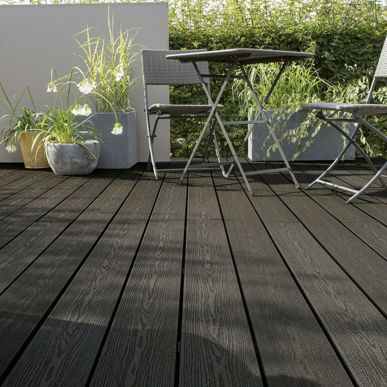 Comment Faire Une Terrasse En Resine planche composite résine et bois terrasse premium, gris anthracite, l.240 x  l.15