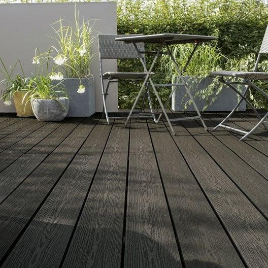 Planche composite Terrasse premium, gris anthracite, L.240 x l.15 cm x Ep.21 mm