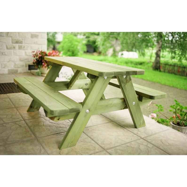Table de jardin pour enfants Forestière rectangulaire vert 4 ...