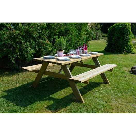 table de jardin foresti re rectangulaire naturel 6 personnes leroy merlin. Black Bedroom Furniture Sets. Home Design Ideas