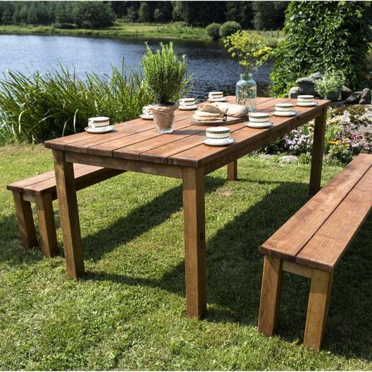 Salon de jardin sapin bois marron, 8 personnes | Leroy Merlin