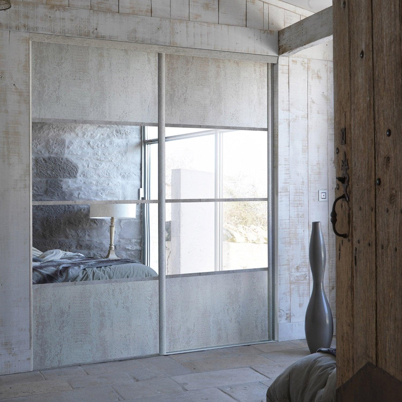 porte de placard coulissante sur mesure optimum concerto de 60 1 80 cm leroy merlin. Black Bedroom Furniture Sets. Home Design Ideas