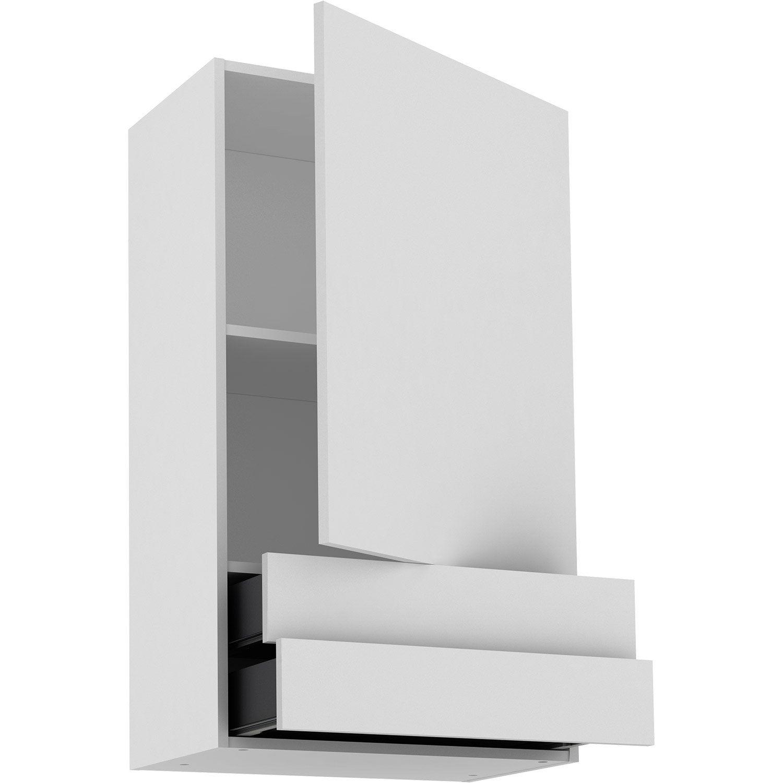 Meuble haut de cuisine Sofia blanc, 15 porte et 15 tiroirs H.1503 l.15 cm x  p.15 cm