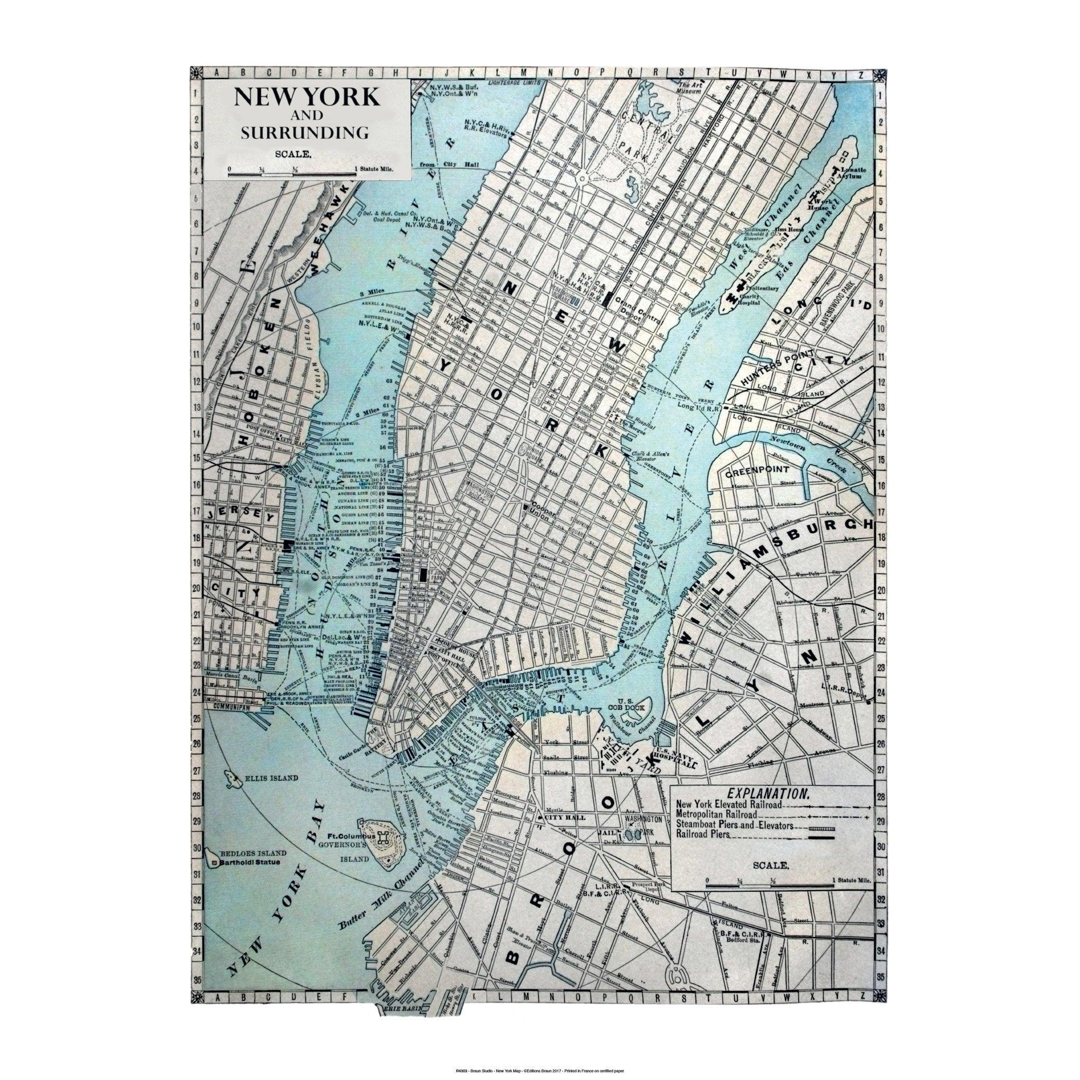 Affiche New york map l.71 x H.51 cm