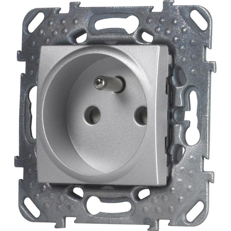 Prise Avec Terre Unicatop Schneider Electric Gris Aluminium