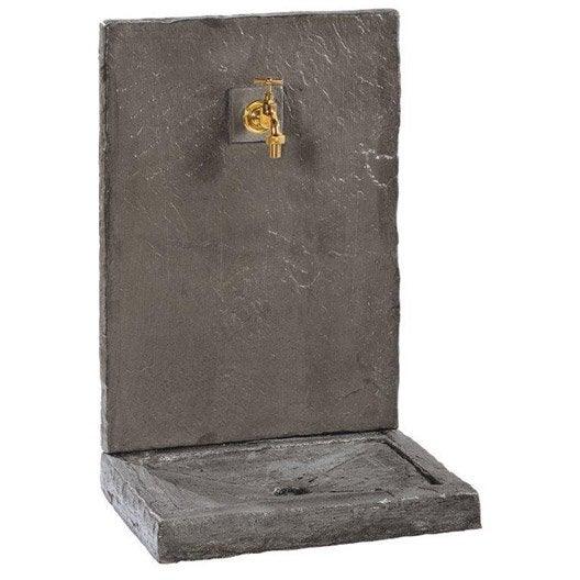 fontaine petit mod le en pierre reconstitu e noir ardois e leroy merlin. Black Bedroom Furniture Sets. Home Design Ideas