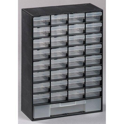 casier vis en plastique 33 tiroirs haut 43 5 x larg 30 3 x prof 13 6 cm leroy merlin. Black Bedroom Furniture Sets. Home Design Ideas