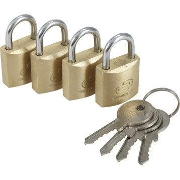 Lot de 4 cadenas à clé STANDERS laiton, l.20 mm