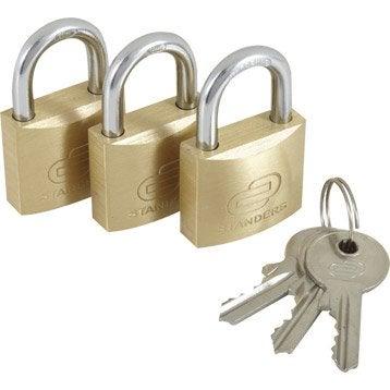 Lot de 3 cadenas à clé STANDERS laiton, l.30 mm