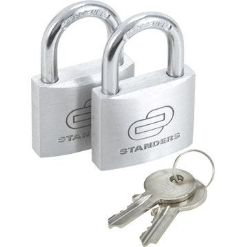 Lot de 2 cadenas à clé STANDERS aluminium, l.40 mm