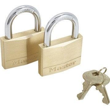 Lot de 2 cadenas à clé MASTERLOCK laiton, l.50 mm