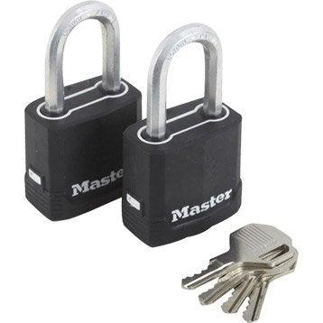 Lot de 2 cadenas à clé MASTERLOCK acier laminé, l.45 mm