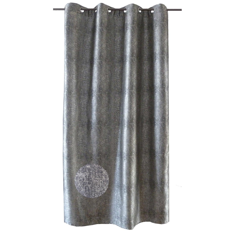 Rideau tamisant, Himba, gris argent, l.140 x H.270 cm   Leroy Merlin