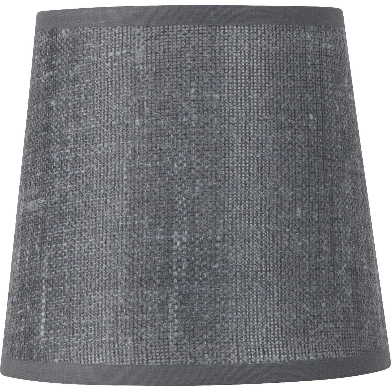 abat jour conique 14 cm lin ardoise leroy merlin. Black Bedroom Furniture Sets. Home Design Ideas