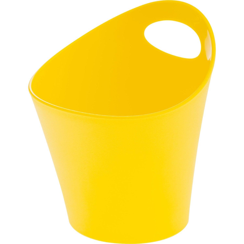 Pot range-couverts plastique jaune anis n°4 L.16 x H.17 cm