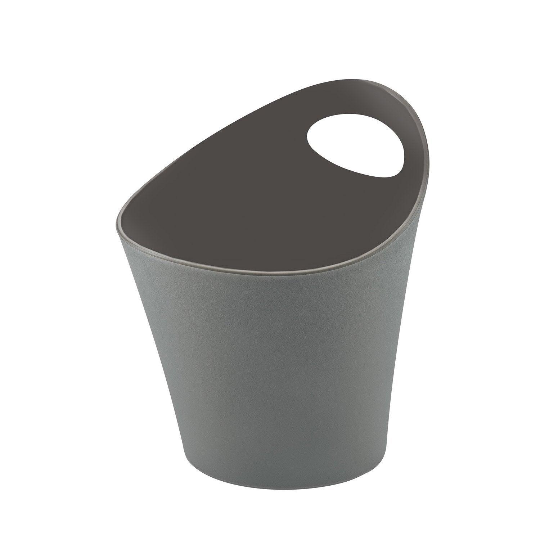 Pot range-couverts plastique gris-gris n°1 L.16 x H.17 cm
