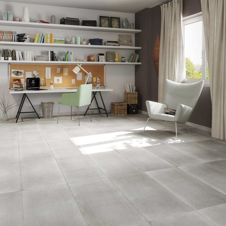 carrelage sol et mur blanc effet b ton proton x cm leroy merlin. Black Bedroom Furniture Sets. Home Design Ideas