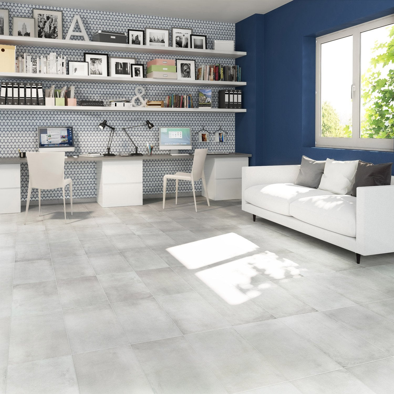 Carrelage Sol Et Mur Blanc Effet Béton Proton L30 X L603 Cm