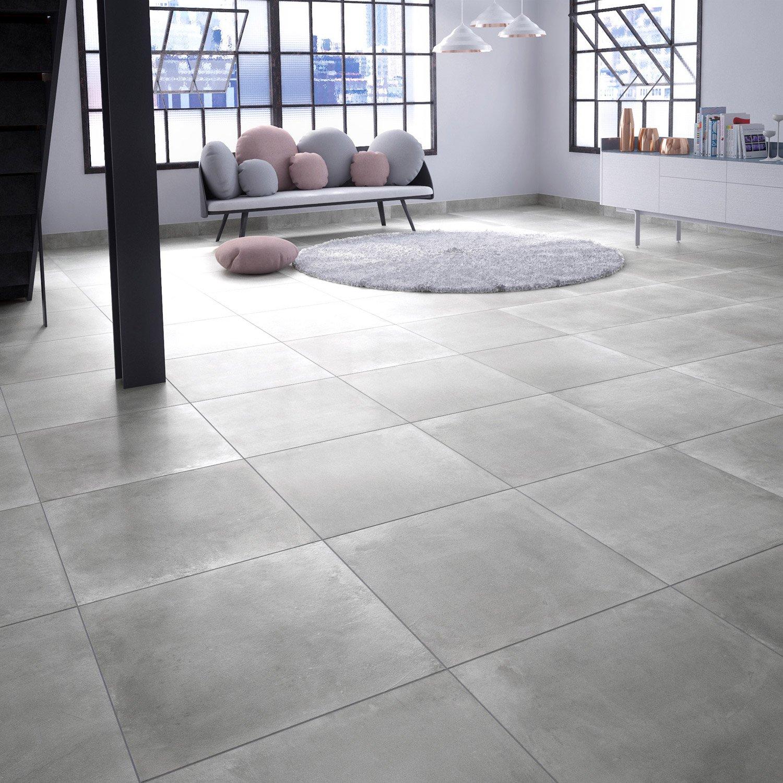 Carrelage Sol Et Mur Gris Aspect Béton Proton L X L Cm - Carrelage beton