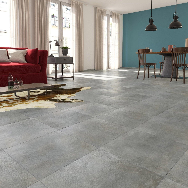 Carrelage Effet Beton Cuisine carrelage sol et mur forte effet béton gris clair laiton l.30 x l.60.4 cm