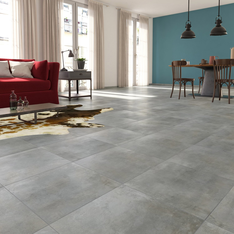 Carrelage Sol Et Mur Gris Clair Effet Béton Laiton L X L Cm - Carrelage effet beton