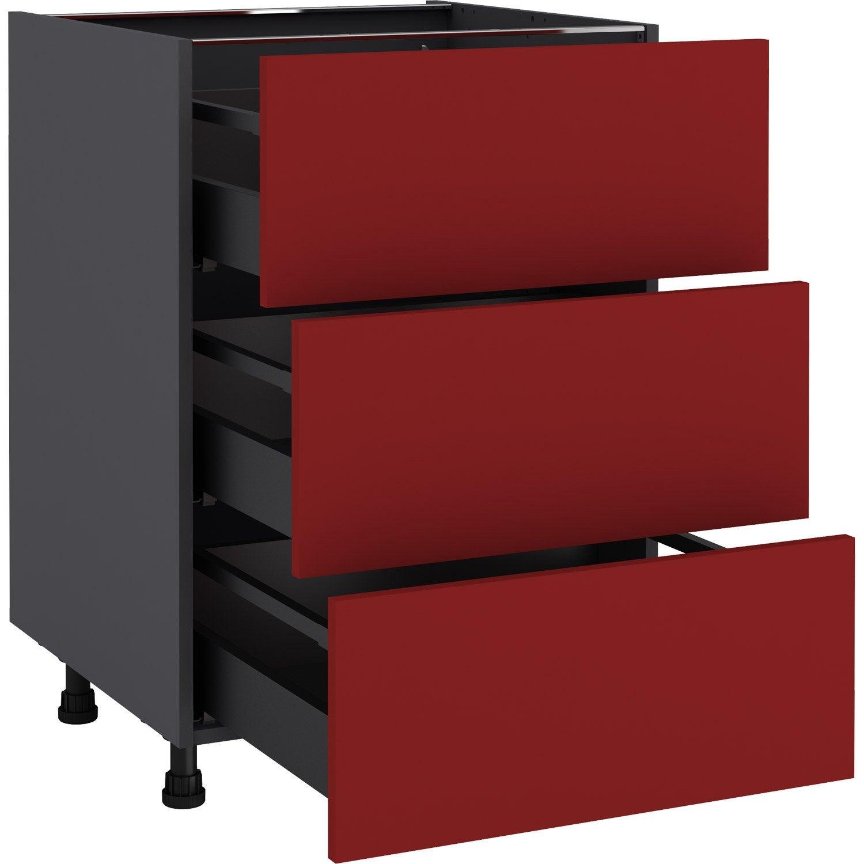 Meuble bas de cuisine Sofia rouge, 11 tiroirs H.11 l.11 cm x p.11 cm