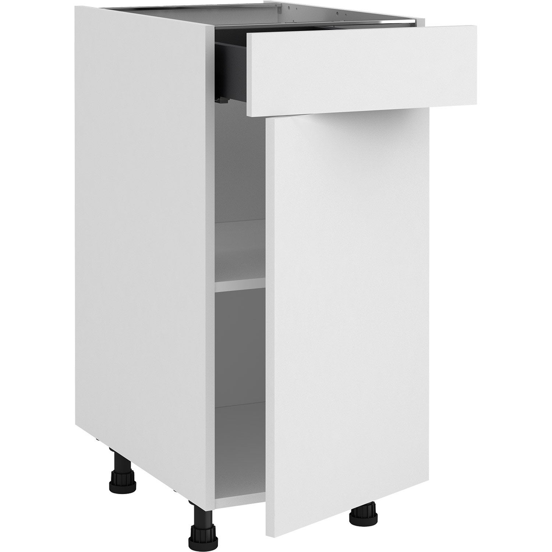 Meuble bas de cuisine Sofia blanc, 133 porte et 133 tiroir H.13 l.13 cm x p.13  cm