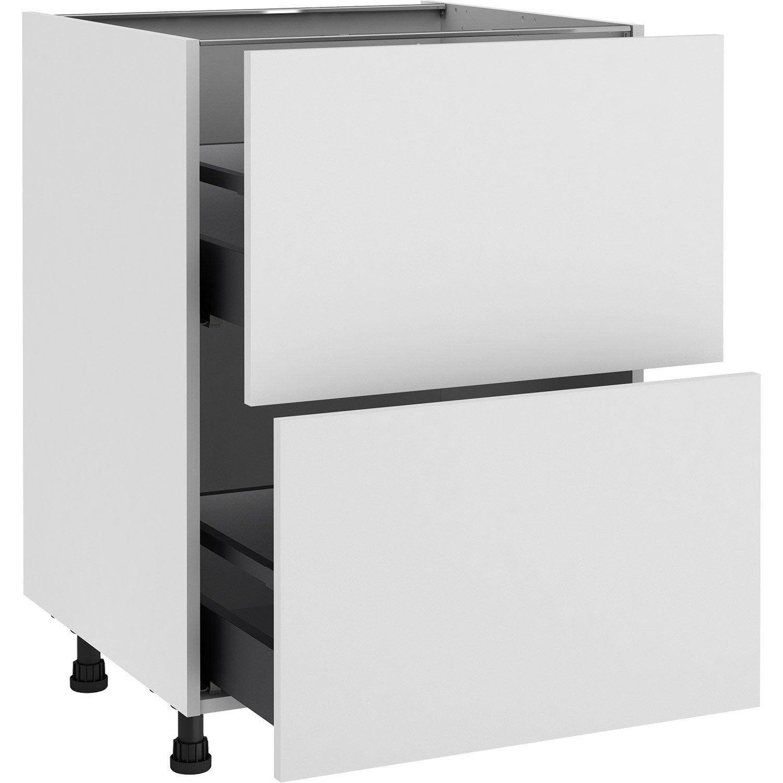 Meuble bas de cuisine Sofia blanc, 11 tiroirs H.11 l.11 cm x p.11 cm