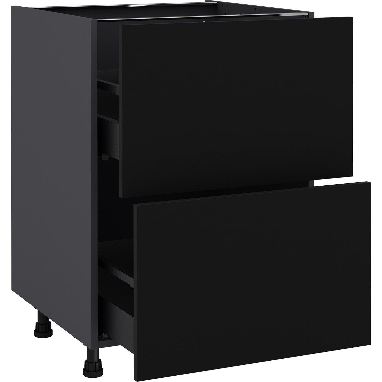 Meuble bas de cuisine Sofia noir, 11 tiroirs H.11 l.11 cm x p.11 cm