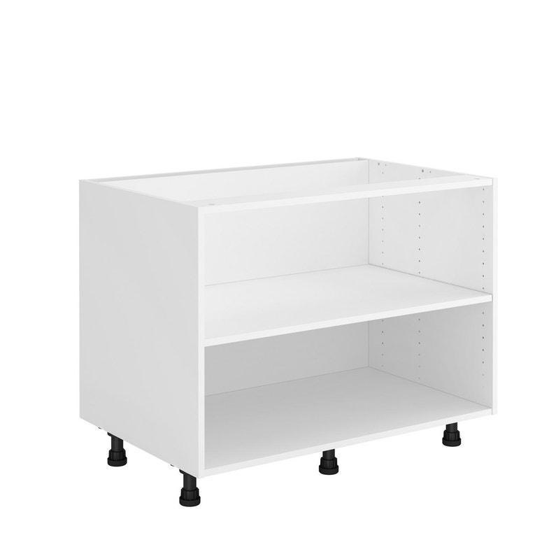 Caisson de cuisine sous-évier DELINIA ID, blanc H.60.8 x l.90 x P.58 cm