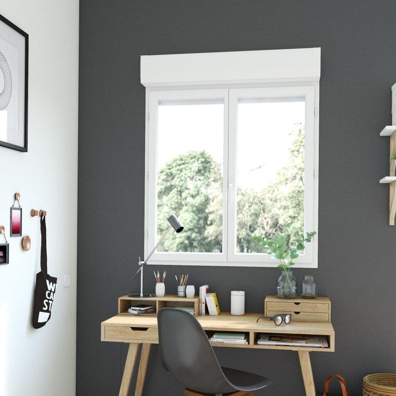 Fenêtre Pvc Avec Volet Roulant H125 X L120 Cm Blanc 2 Vantaux Tirant Droit