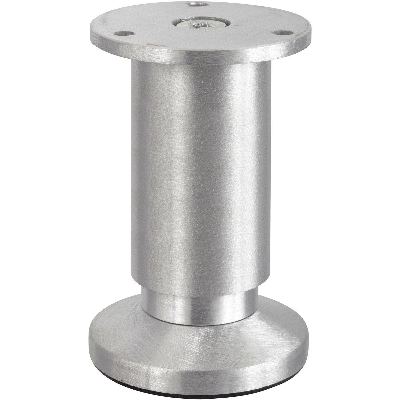 Pied De Meuble Cylindrique R Glable Aluminium Bross Gris De 10  # Meuble Tv Avec Pied En Hauteur