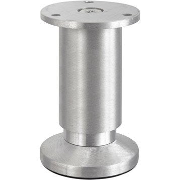 Pied de meuble cylindrique réglable aluminium brossé gris, de 10 à 12 cm